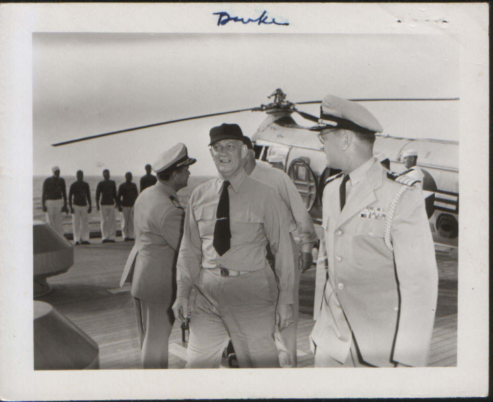 Admiral Burke and Captain Enzy in 1957